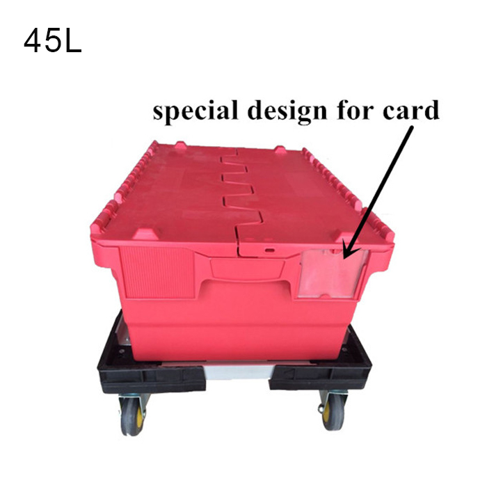 distribution container with hinged lid