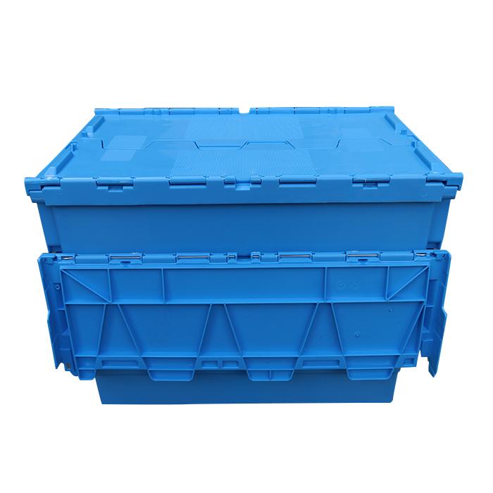 plastic storage box with hinged lid
