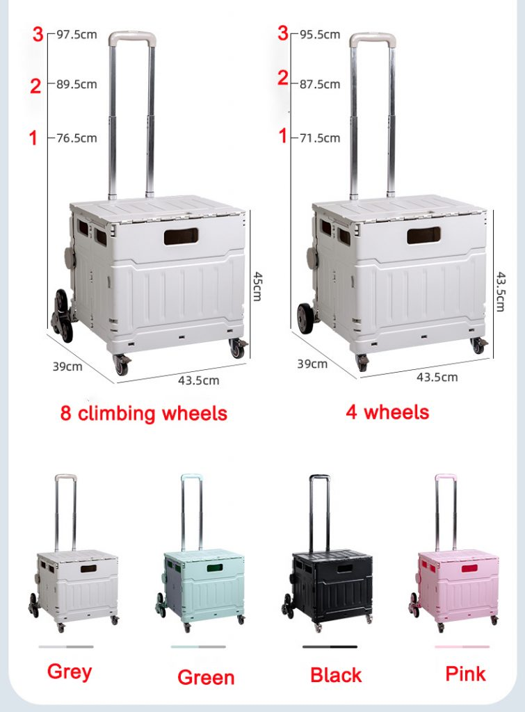 rolling storage crate with handle color and size